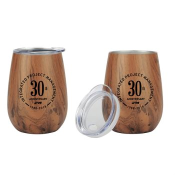 Custom 10 Oz Stainless Steel Lined Vacuum Wood Toned Wine Tumble