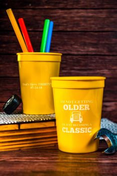 12 oz Yellow Cup with White Imprint Color